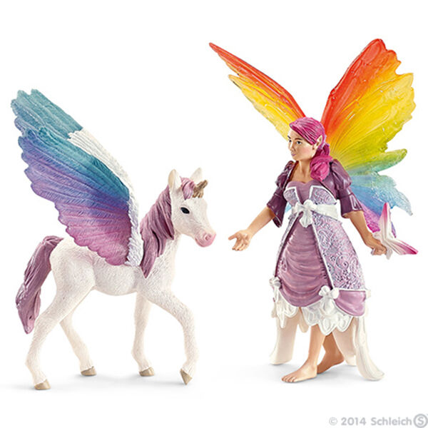 NEW SCHLEICH 70484 Lis & Pegasus Foal - Bayala Elf Fairy Elven Character RETIRED