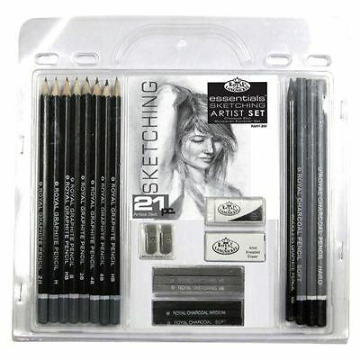 Pencil Charcoal Drawings - 21 Piece Sketch Drawing Pencil Set Sketching Art Royal Langnickel Art Supplies