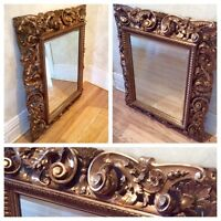 LARGE WOOD FLORENTINE SCROLL AND ACANTHUS FRAMED ANTIQUE MIRROR