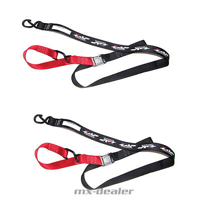 ZAP Motocross Spanngurte MX Tie downs rot schwarz 2 teilig Enduro Quad soft hook