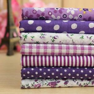 7 Purple Pre-Cut Quarters Patchwork Bundle Bulk Cotton Cloth Quilting Fabric
