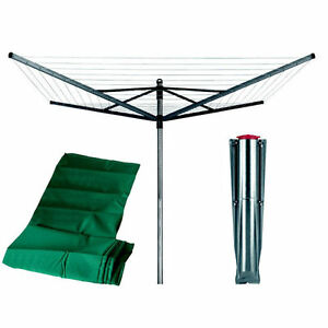 Brabantia 60m 4 arm Rotary Airer Washing Line Dryer + Cover + Ground spike