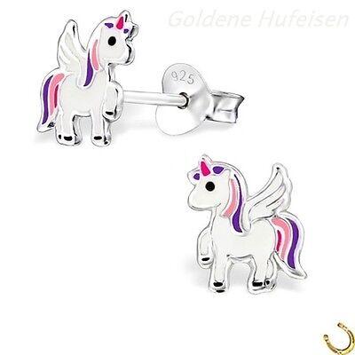 Alicorn Einhorn Ohrstecker 925 Echt Silber Ohrringe Kinder Pegasus Pferd z-585