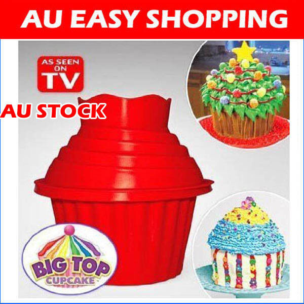 Silicone Giant Cupcake Muffin Mould Big top bake cake Christmas party +Bonus A01