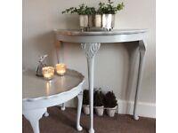 Vintage half moon hall or side table