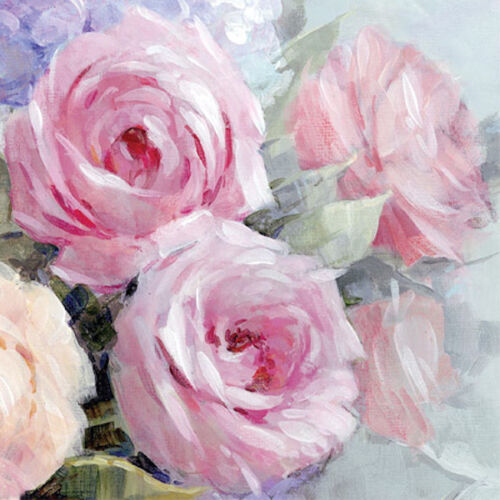 20 Paper Napkins JULIA Decoration DECOUPAGE SHABBY CHIC - Pink Roses - Lunch