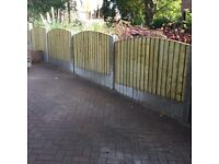 🔨🌟The Finest Quality Vertical Board Tanalosed Garden Fence Panels Bow Top
