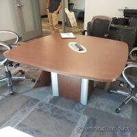 """Autumn Maple 42"""" Square Board Room Meeting Table w Connectivity"""