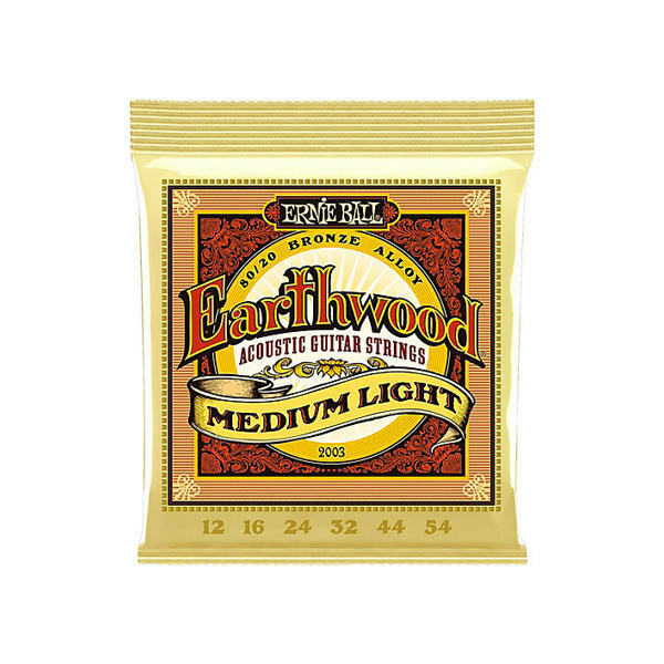 Ernie Ball Medium Light Acoustic Strings 2003 Earthwood 80/20 12-54