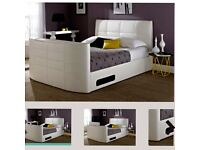 White double leather TV bed