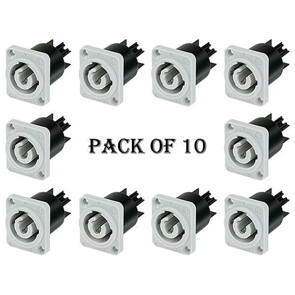 8x Neutrik NAC3MPB-1 PowerCON Chassis Panel Mount Connector Power-in 20A AC Gray
