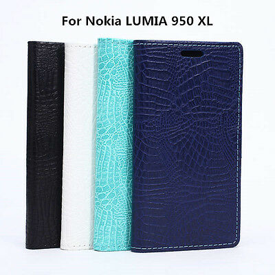 Best Crocodile Pattern Leather Wallet Phone Case Cover For Nokia LUMIA 950 (Best Nokia Lumia Phone)
