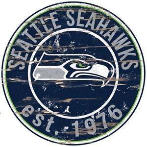 """Seattle Seahawks 24"""" Round Wooden Sign (New)"""