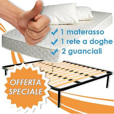 MATERASSO MATRIMONIALE + RETE A DOGHE ORTOPEDICA + 2 CUSCINI IN LATTICE 100% !