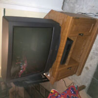 TV with remote and TV stand