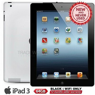 New APPLE iPad 3 3rd Gen Black 64GB WiFi most effective 9.7 Retina screen tablet