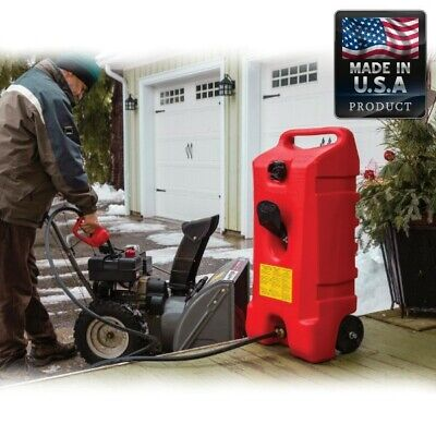 14 Gallon Tank Fuel Container Gas Can Storage Portable Wheel Hand Pump Transfer