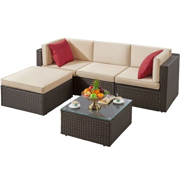 5pcs Patio Sofa Set Outdoor Patio Furniture Conversation Set with Cushions, Used
