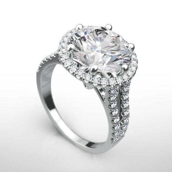 Diamond Ring 4 Carat Halo Side Stones Natural 14k White Gold Estate Split Shank