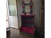 👸PRINCESS BEDROOM BOOKCASE /TOY BOX + CASTLE SHELF