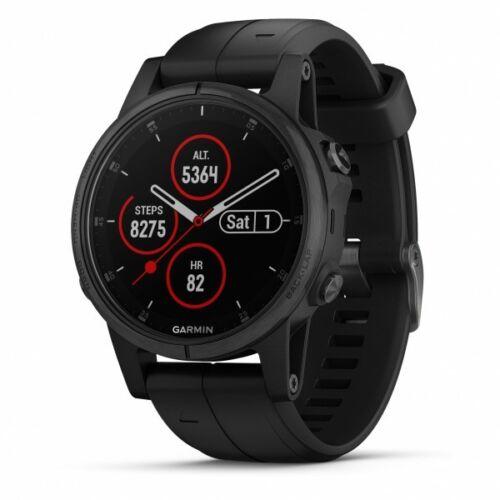 Garmin fenix 5S Plus Sapphire Black GPS Watch With Black Band 010-01987-02