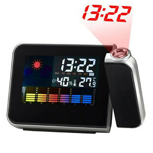 Digital Weather Temperature Humidity Wall Projection Snooze Alarm Clock LED Disp