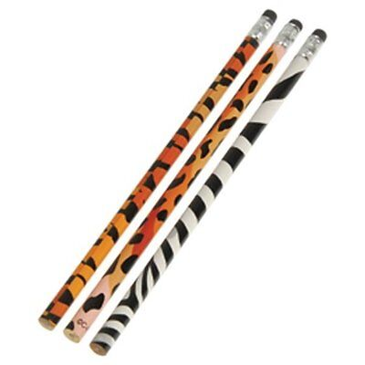 12 Animal Print  Pencils  Party Favors Zoo Jungle Dive - Animal Print Pencils