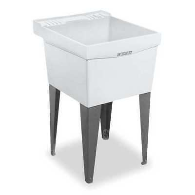 """Mustee Floor Mount Utility Sink, Thermoplastic White, Dish Size 24"""" x 20"""", 19f"""