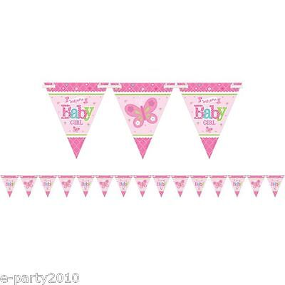 WELCOME LITTLE GIRL FLAG BANNER ~ Baby Shower Party Supplies Decorations Paper