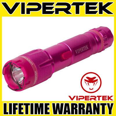 Vipertek Stun Gun Vts-t03 Pink 550bv Metal Rechargeable Led Flashlight
