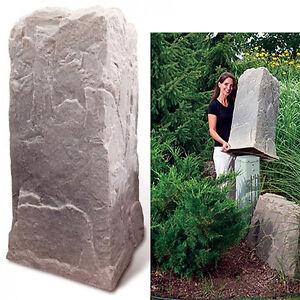 Dekorra mock rock 113rb utility pedestal cover rock for Landscape rock utility cover