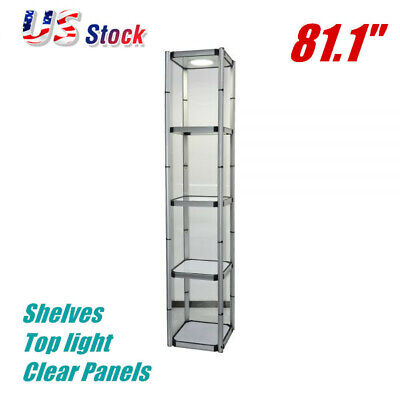 81.1 Square Portable Aluminum Spiral Tower Display Case Top Light Clear Panels