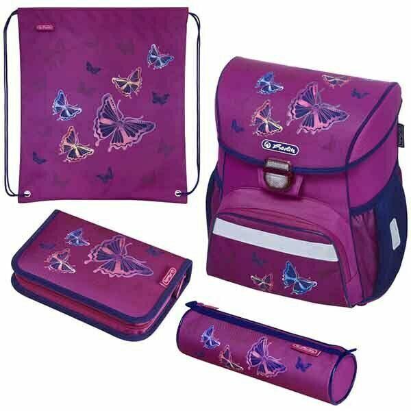Herlitz Schulranzen Set Loop Plus Glitter Butterfly 4-teilig Schultasche Mädchen
