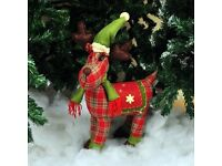 Plush Tartan Reindeer Christmas Decoration (Brand New)