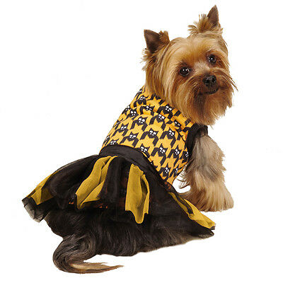 Xxs Puppy Halloween Costumes (ESC Houndstooth Bat Tank & Tutu DOG Puppy Dress Costume Halloween 2 piece)