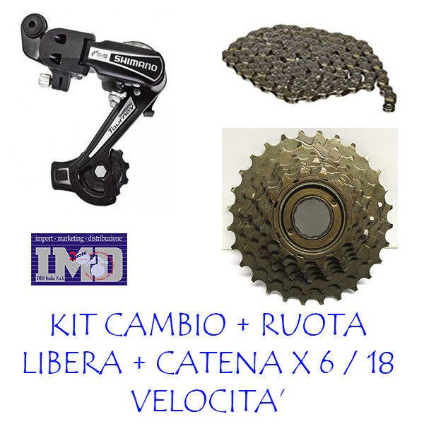 CAMBIO SHIMANO + RUOTA LIBERA 6 V. + CATENA MTB bicicletta  per CITY bike bici