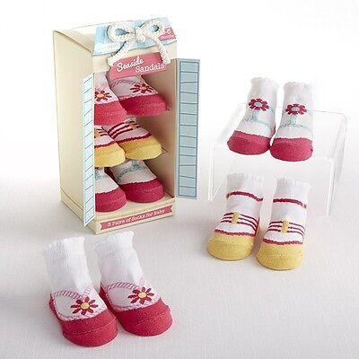Seaside Sandals 3-Pair Beach Themed Sock Gift Set (0-6 Months) Baby Shower Gift - Beach Themed Baby Shower