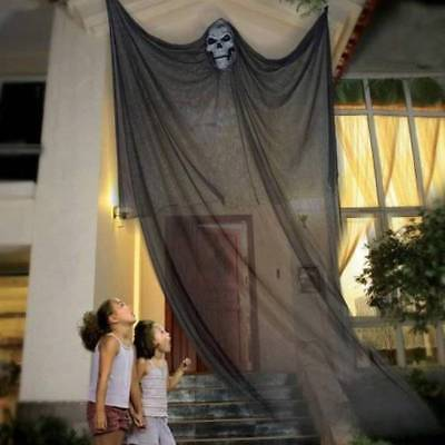 NWT-Black Hanging 7 Ft Tall Floating Scary Skeleton Reaper Halloween Decoration