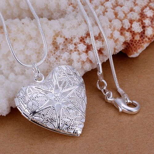 Jewellery - best Silver love lady jewelry fashion 925for women wedding heart Charms necklace