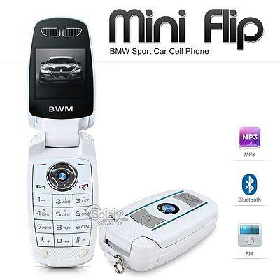 New Unlocked Bmw Mini Flip Compact Car Key Fob Gsm Bluetooth White Cell Phone