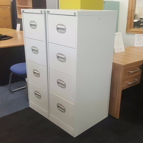 Grey Four Drawer Filing Cabinet