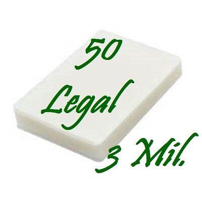 50 Legal 3 Mil Laminating Pouches Laminator Sheets 9 X 14 1 2 Scotch Quality