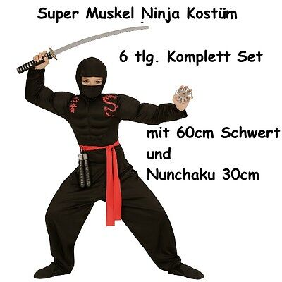 Komplett Set 6 tlg SUPER MUSKEL NINJA Gr.140 Kinder Kostüm -Muskelshirt Nunchaku