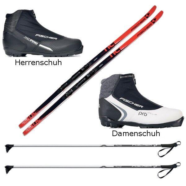 Langlaufski-Set Fischer APOLLO + Bindung + Schuhe + Stöcke Nordic Cruiser Neu