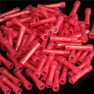 100 Pcs Pack 22-18 Awg Ga Wire Seamless Red Nylon Butt Connectors Crimp Terminal
