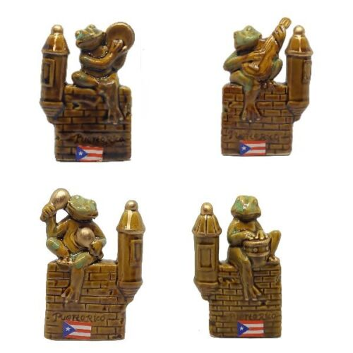 """Lot of 4 Figures 4"""" Inches Coqui With Instrument Music COLLECTABLE Garita"""
