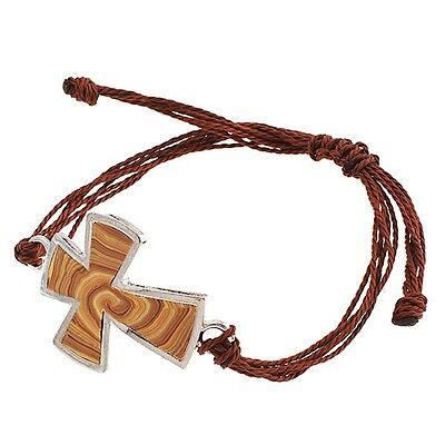 Adjustable Brown Rope Tan Clay Wood Pattern Silver Tone Cross Jewelry Bracelet