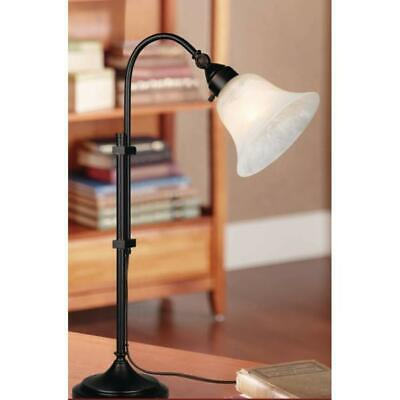 Bel Air Lighting 26 in. Rubbed Oil Bronze Desk Lamp with White Shade