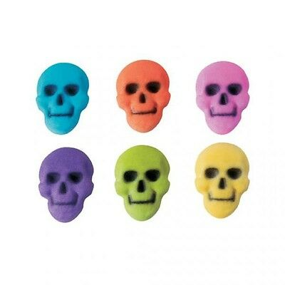 Sugar Decorations Cookie Cake Cupcake HALLOWEEN SKULL ASSORTMENT 12 Count