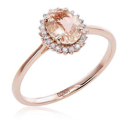 Morganite White Ring - 10k Rose Gold Morganite and 1/10ct TDW White Diamond Halo Ring